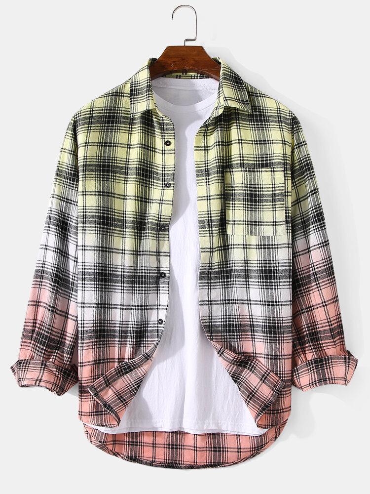 Mens Plaid Ombre Print Cotton Lapel Long Sleeve Casual Shirts