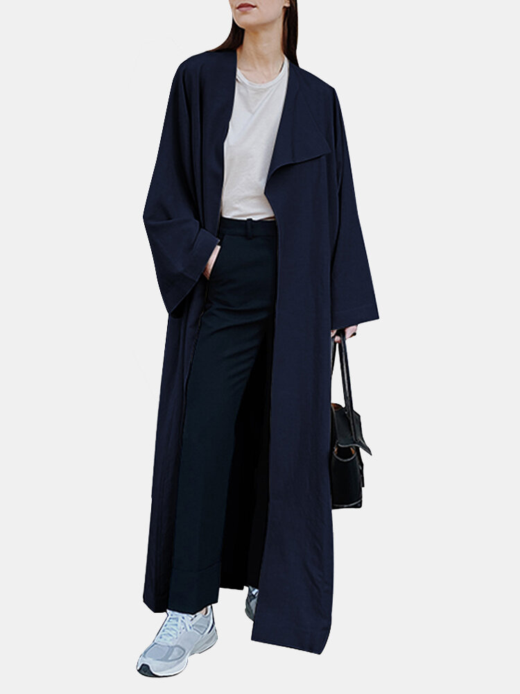 Solid Color Long Sleeve Lapel Collar Coat For Women