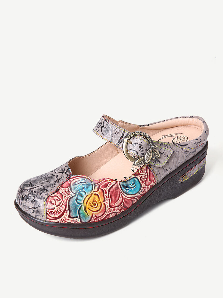 SOCOFY Retro Embossed Rose Metal Leaves Buckle Strap Genuine Leather Shoes