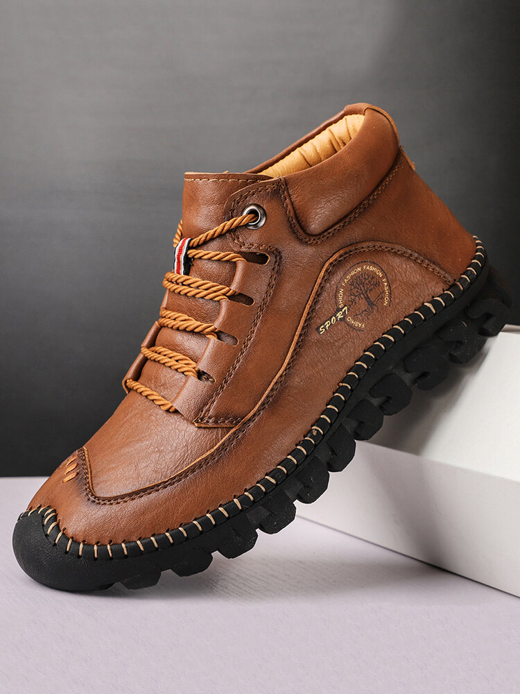 Menico Men Microfiber Leather Hand Stitching Casual Ankle Boots