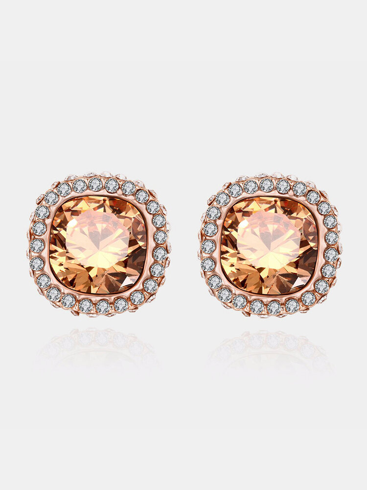 INALIS® Square Shape Crystal Earring Ear Stud Simple Design