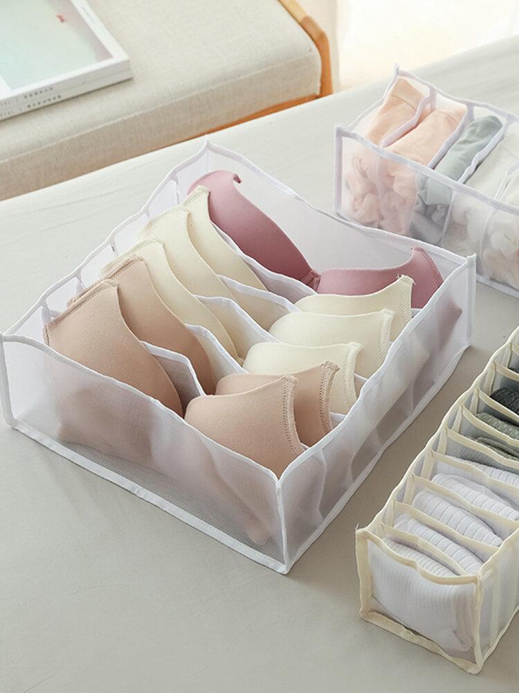 Boîte de rangement de sous-vêtements multi-grilles pratique soutien-gorge sous-vêtements organisateur de treillis tiroir en maille séparateur de rangement