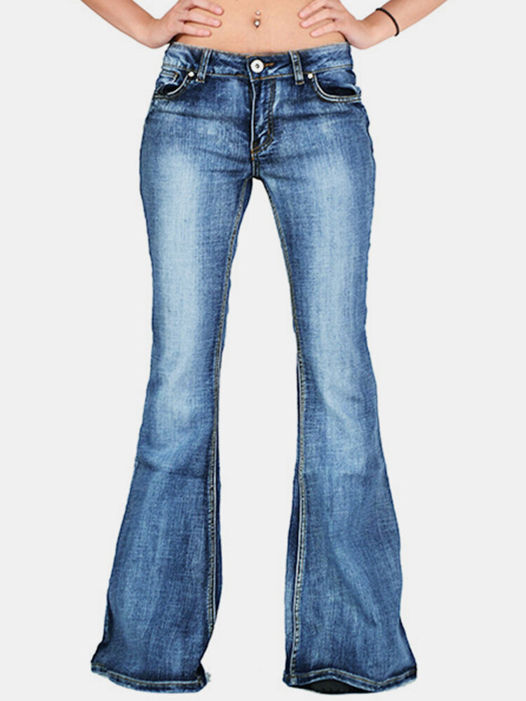Solid Color Mid Waist Bell-bottoms Casual Jeans For Women