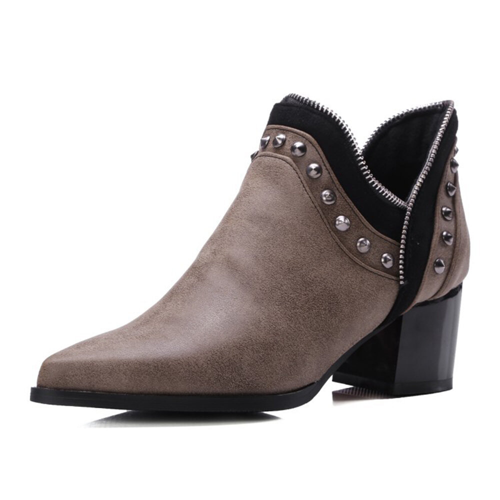 Zipper Design Rivet Pointed Toe Ankle Boots