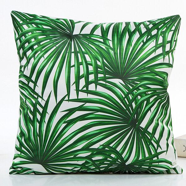 Spring Summer Green Leaves Simulation Silk Satin Pillowcase Cushion Cover Home Car Decor