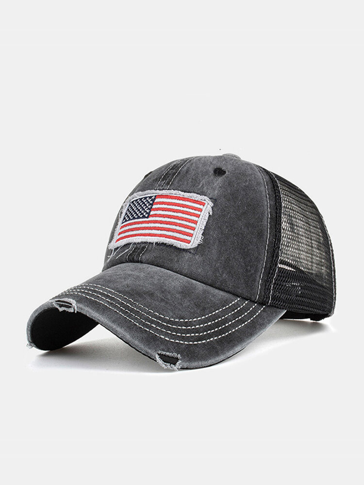 Unisex Washed Distressed Cotton Mesh Patchwork American Flag Pattern Embroidery Broken Hole Baseball Caps