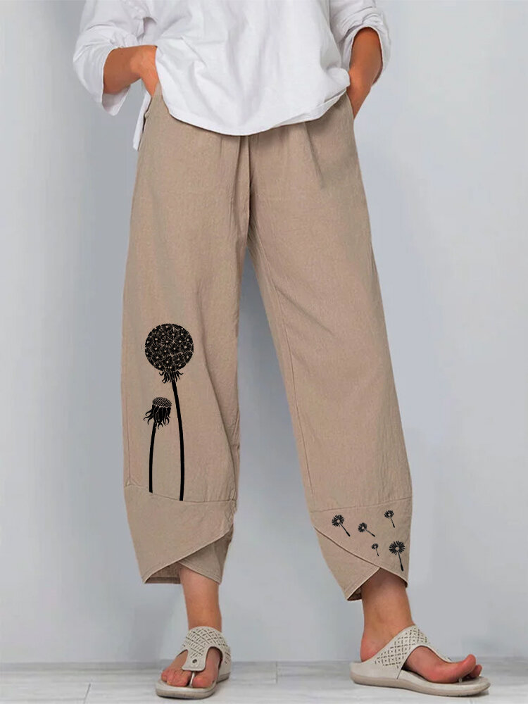 Cartoon Blumendruck Elastic Waist Casual Pants für Damen