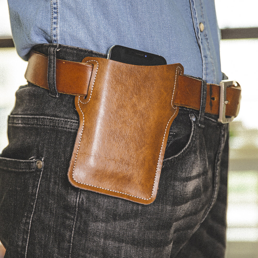 Men EDC Genuine Leather 6.3 Inch Phone Holder Case Waist Belt Bag