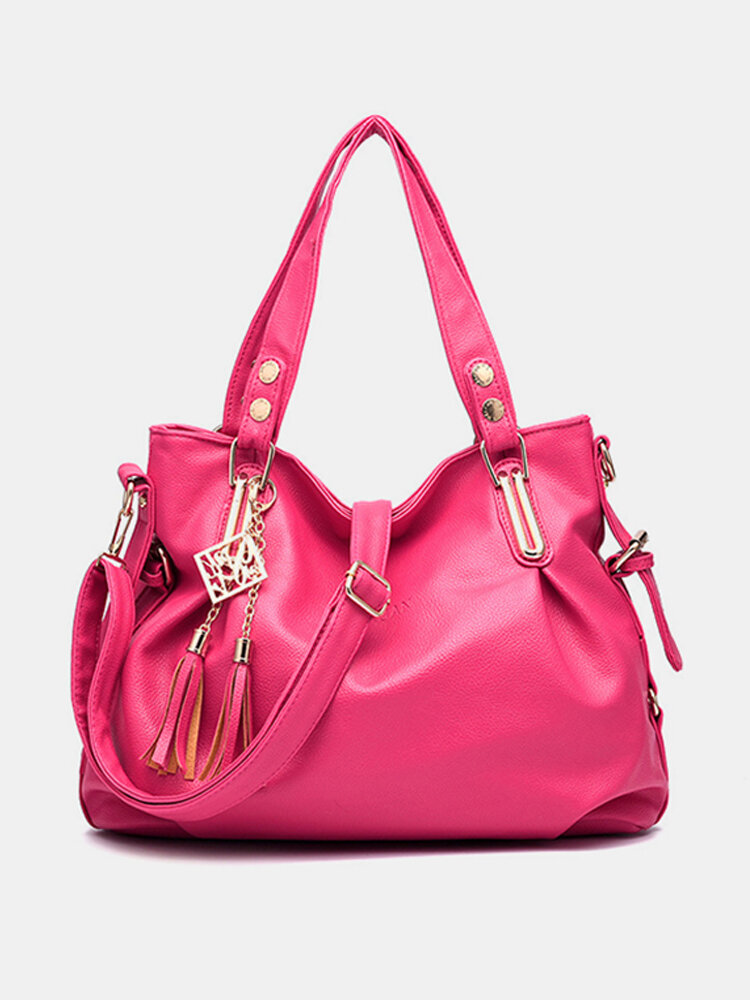 Women Faux Leather Tassel Soft Leather Handbags Solid Casual Crossbody Bags