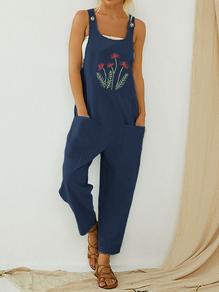 Straps Flower Embroidery Casual Jumpsuit For Women