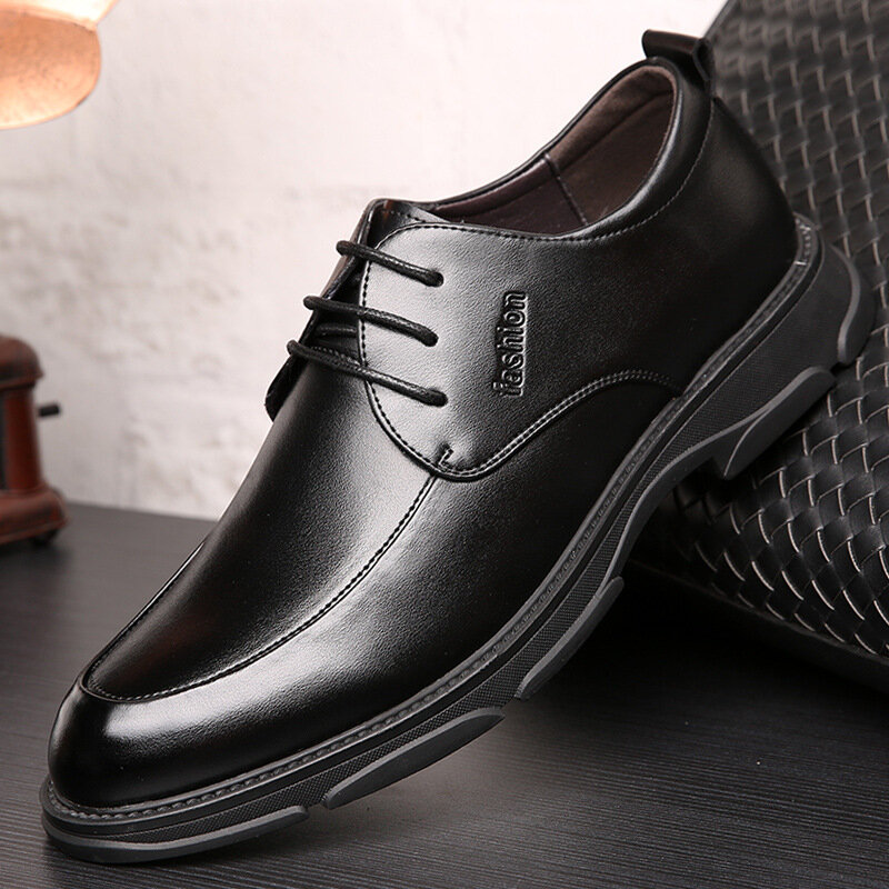 Men Pure Color Leather Non Slip Business Comfy Formal Shoes
