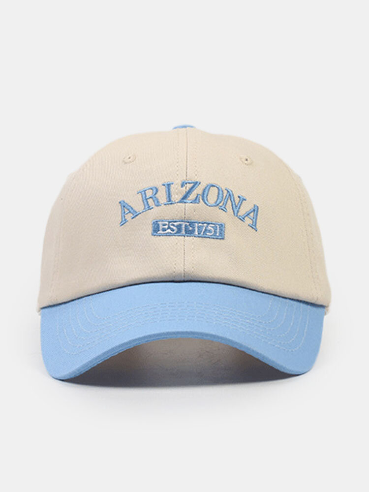 Unisex Cotton Letters Embroidery Color-match Patchwork All-match Sunscreen Baseball Cap