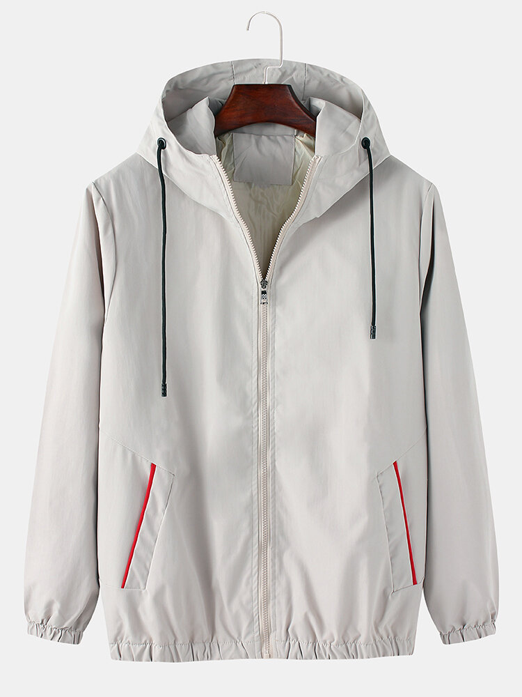 Mens Solid Color Cotton Casual Loose Fit Pocket Drawstring Hooded Jacket