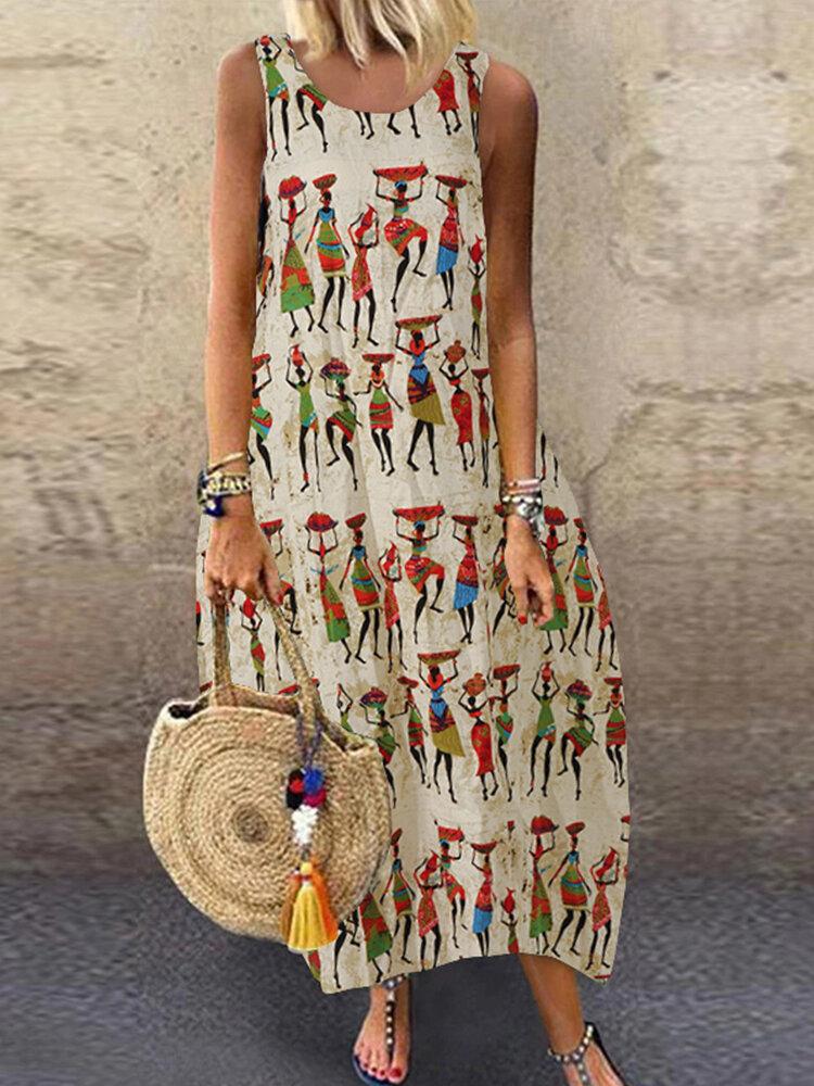Vintage Print Sleeveless Plus Size Summer Dress