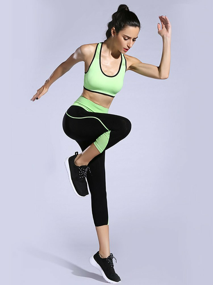 Women Summer Mesh Patchwork Yoga Athletic Tracksuits
