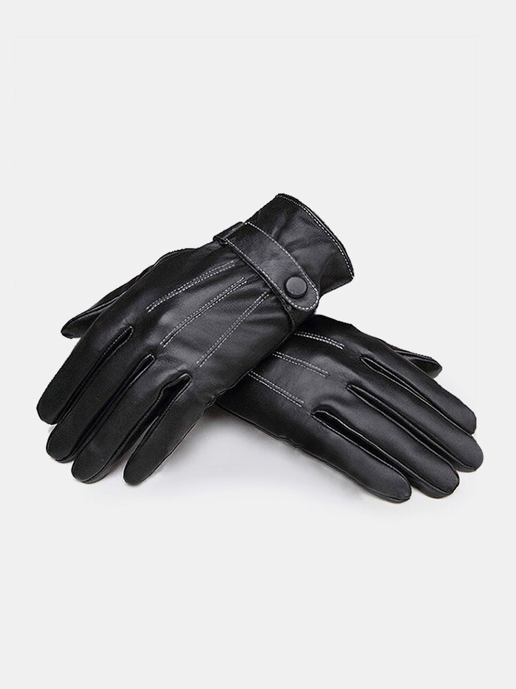 Black Windproof  PU Leather Men's Cycling Drive Covered Button Gloves