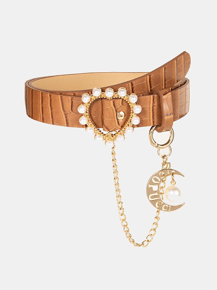 女性レザームーンチェーンデコレーションハート型パールバックルファッションベルト
