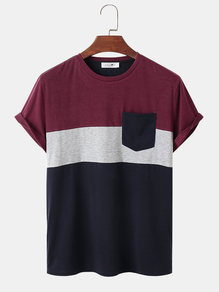 Mens Tricolor Patchwork Crew Neck Short Sleeve Preppy T-Shirt With Pocket