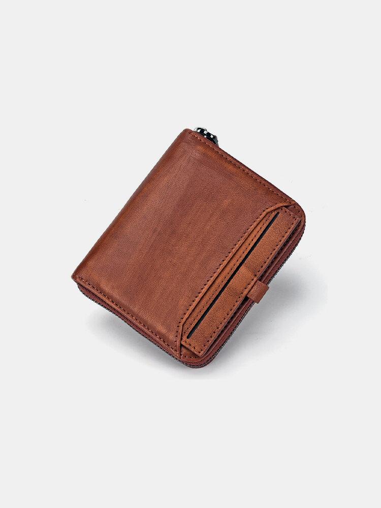 Men Genuine Leather Multi-slots Retro Removable Foldable Card Holder Wallet