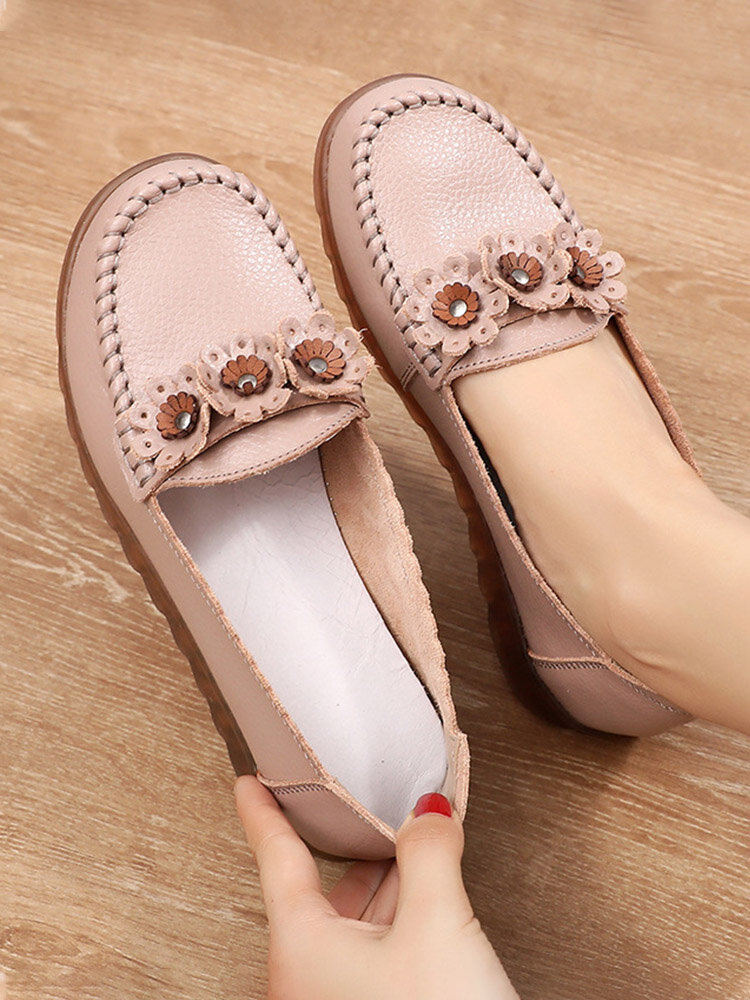 Women Leather Soft Single Shoes Comfy Floral Stitching Flats