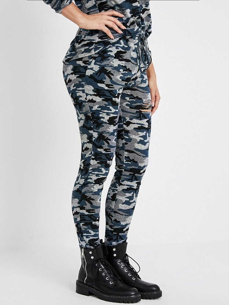 Camo Print Hollow Ripped Drawstring Casual Pants With Pocket For Women