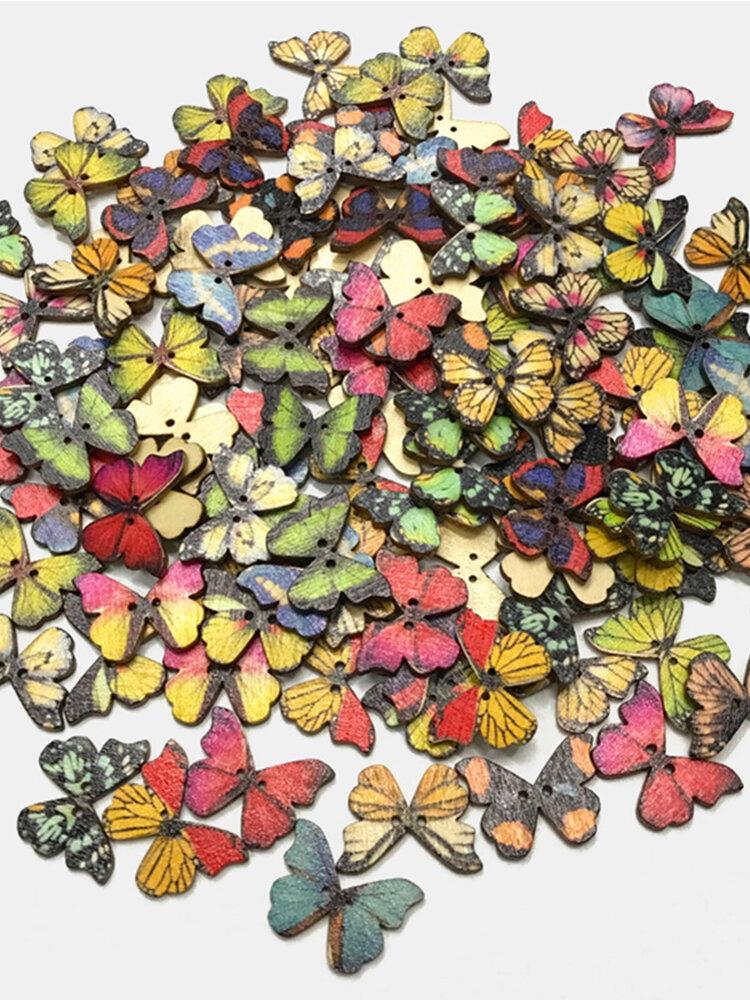 50 Stück Retro Farbe Schmetterling Bohemian Style Cartoon Schmetterling DIY dekorative Knöpfe