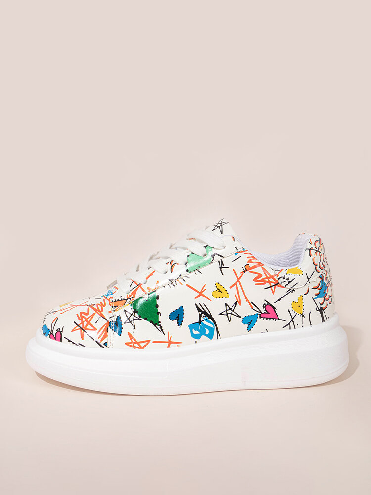 Women Funny Graffiti Print Thick Sole Lace Up Court Shoes