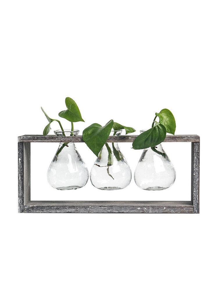 Madera de vidrio de estilo simple creativo Planta Florero decorativo para el hogar Plantaer
