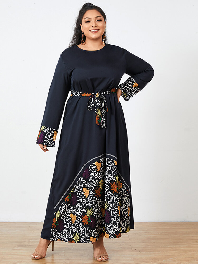 Print Patchwork O-neck Long Sleeve Plus Size Knotted Vintage Dress
