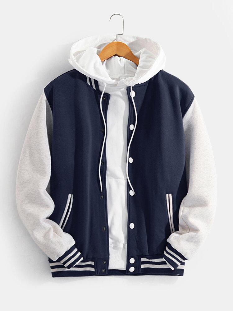 Mens Classical Plus Velvet Patchwork Thick Casual Loose Cotton Baseball Uniform Jacket