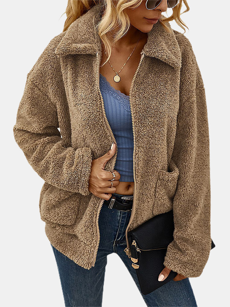 Lapel Solid Color Plush Long Sleeve Casual Coat For Women