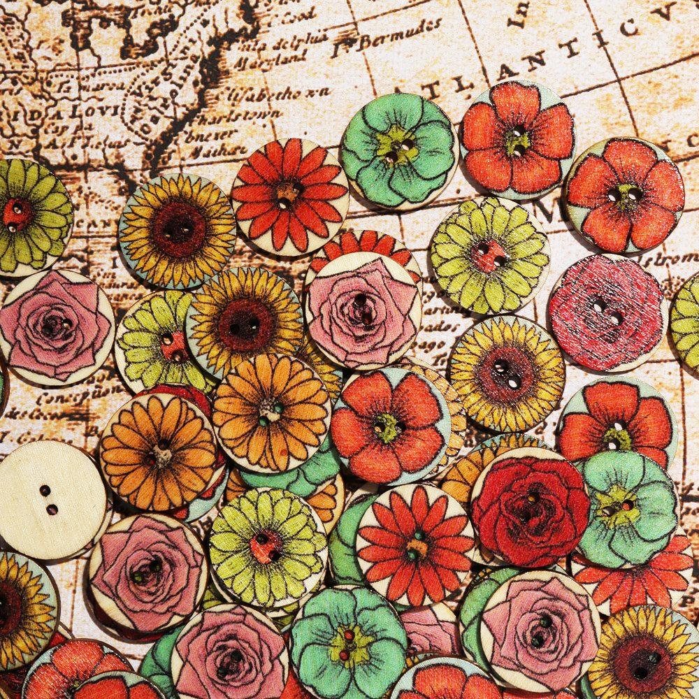 Bottone di legno stampa floreale