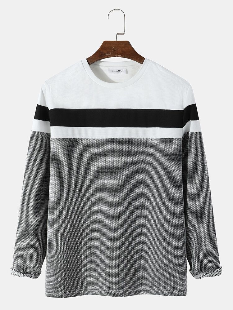 Mens Color Block Stitching Texture Casual Long Sleeve T-Shirts