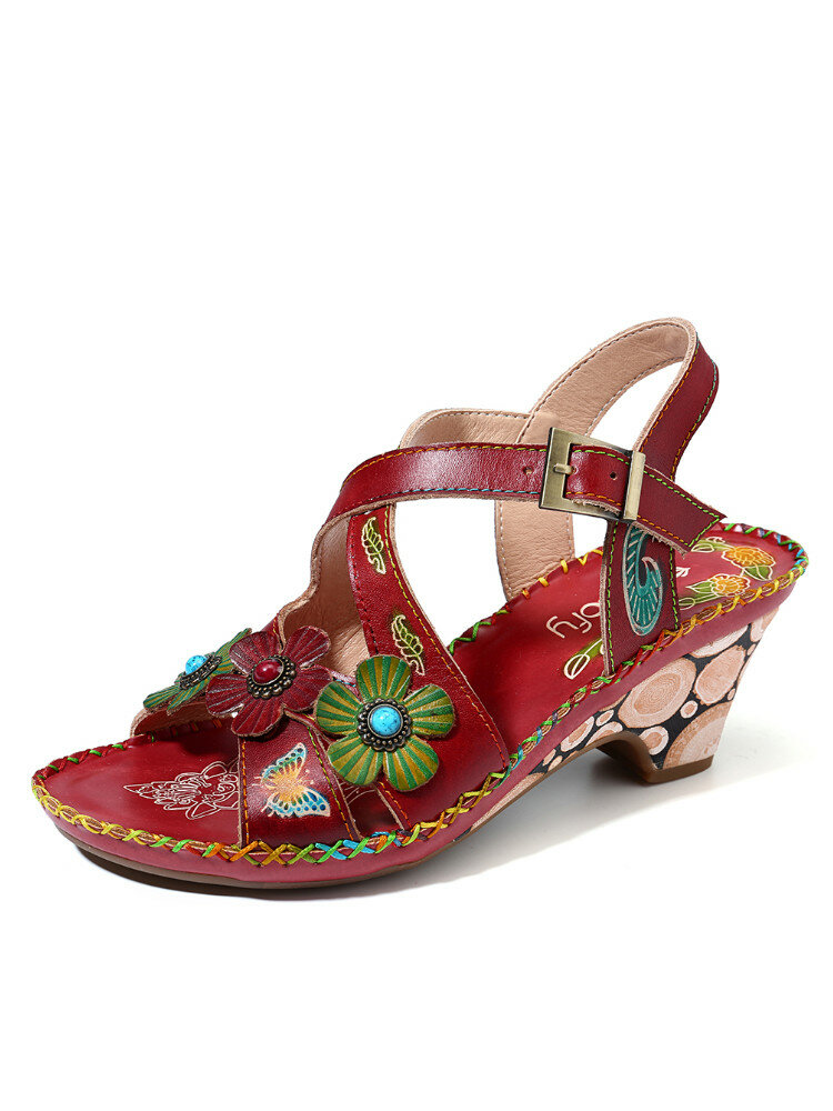 SOCOFY Vintage Floral Hand Painted Genuine Leather Stitching Soft Buckle Strap Sandals