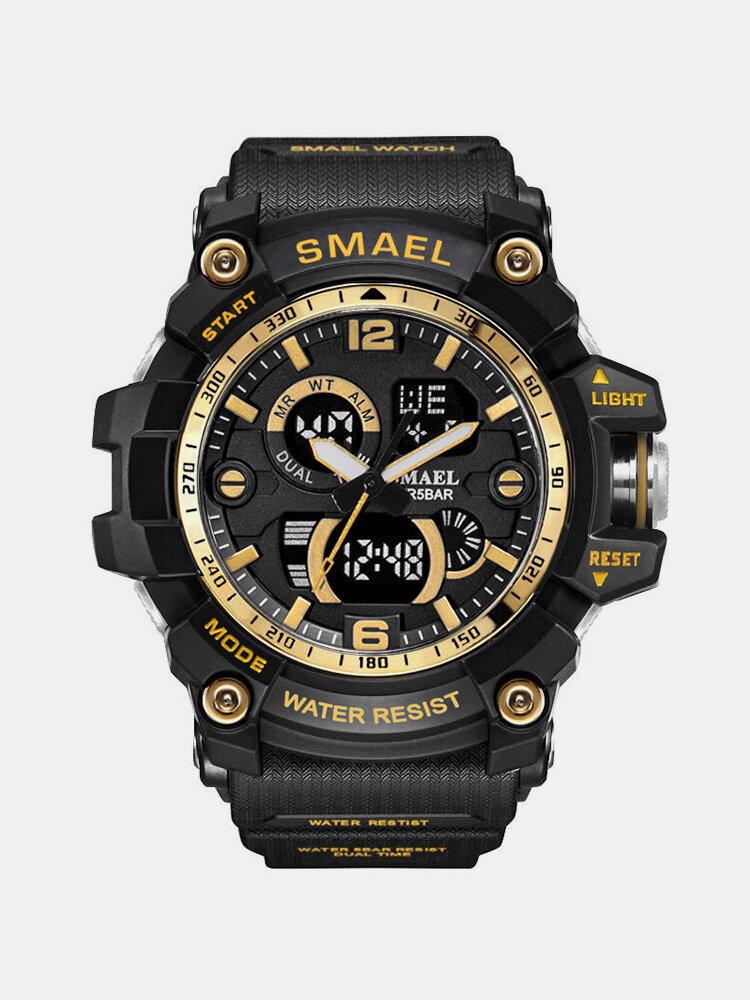 SMAEL Dual Display Waterproof Sports Watch Digital Watch Quartz Watch Military Wristwatch for Men
