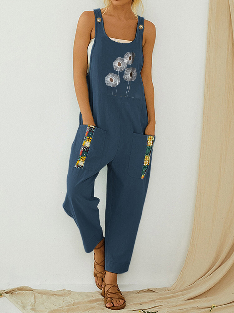 Straps Printed Patchwork Casual Jumpsuit With Pocket
