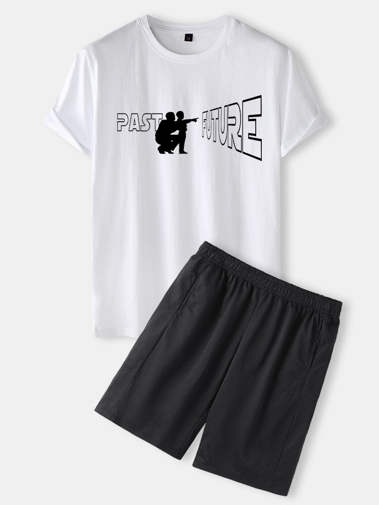 Mens Father's Day Figure Print Crew Neck Casual Cotton Loungewear Set