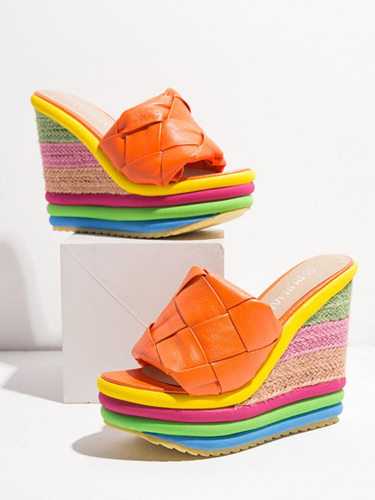 Women Fashion Woven Band Peep Toe Comfy Wearable Rainbow Espadrille Platform Wedges Slippers