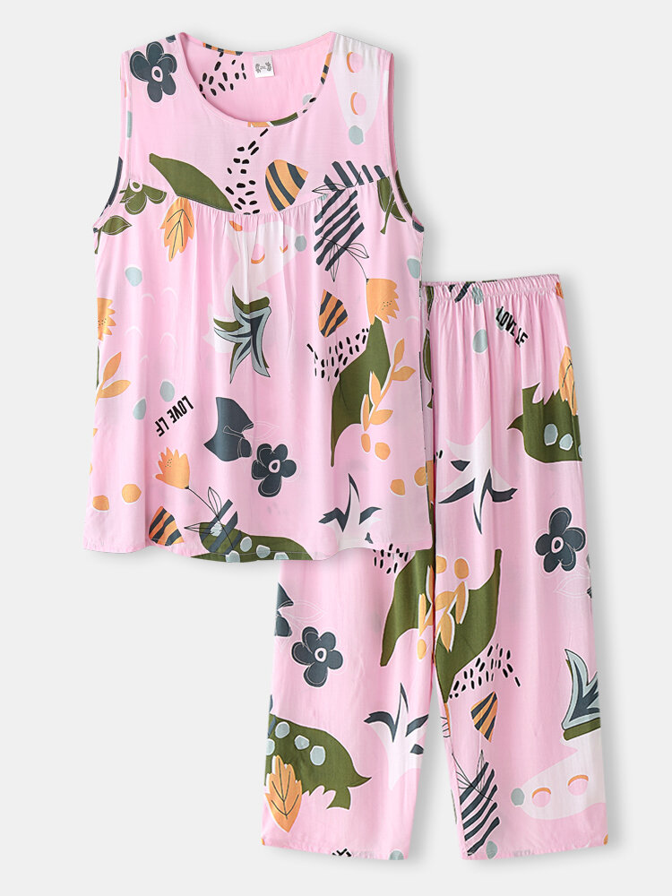 Plus Size Women Floral Print Pleated Tank Pajamas Sets With Cropped Pants