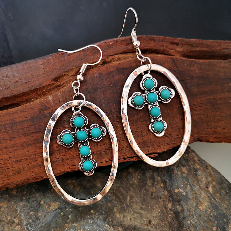 Vintage Turquoise Cross Earrings Metal Geometric Hollow Turquoise Pendant Earrings