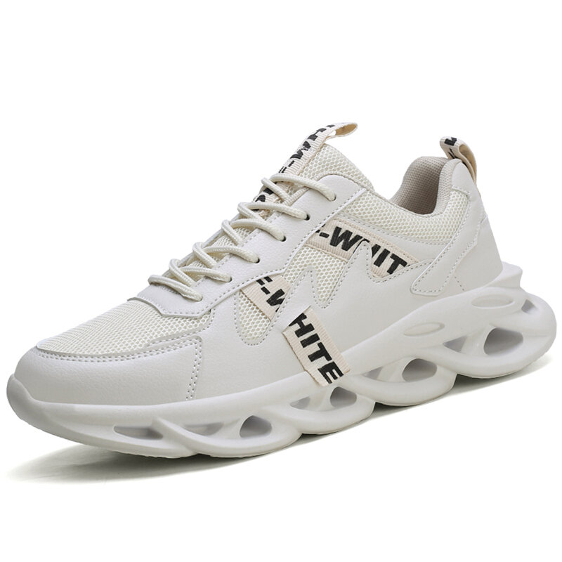 Men PU Leather Stylish Sport Wear Resistant Casual Running Shoes