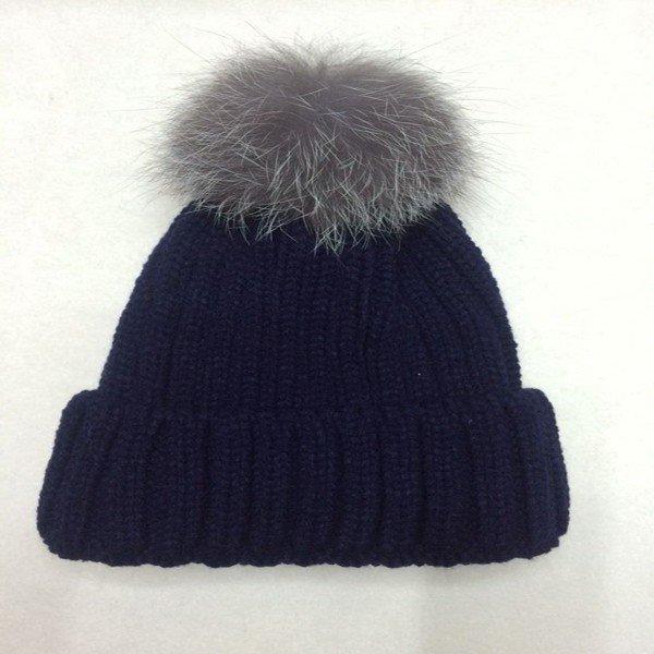 European Style Silver Fox Fur Ball Thicken Warm Beanie Women Knitting Cap
