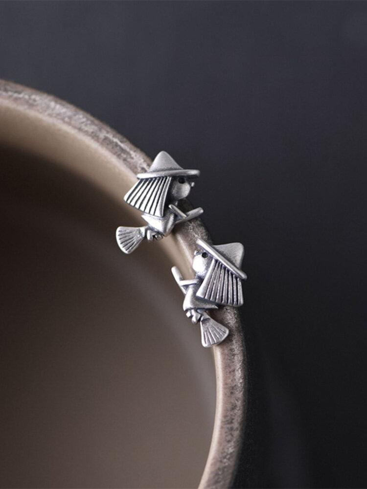 Vintage 925 Sterling Silver Earring Simple Broom Witch Ear Stud Women Jewelry Gift