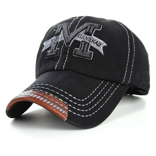 Men Women Embroidery M Cowboy Sun Hat Adjustable Snapback Baseball Cap