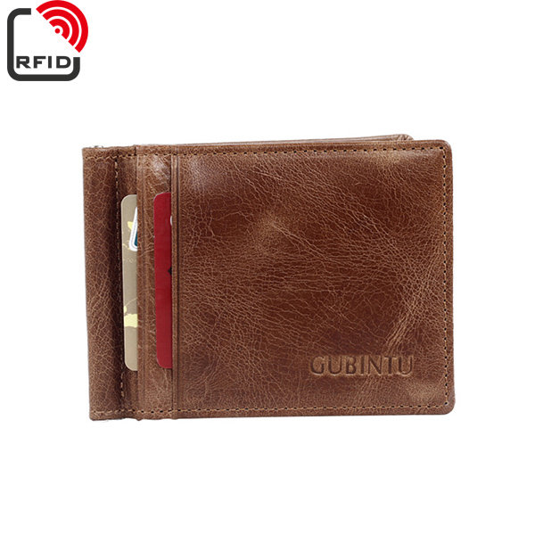 RFID Antimagetic Genuine Leather Bifold Wallet 8 Card Slots Casual Vintage Card Pack Purse For Men