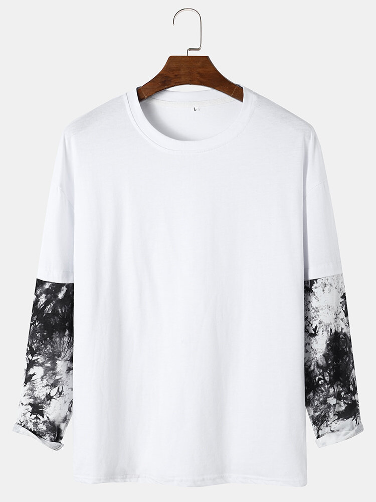 Mens Ink Print Contrast Faux Twinset Cotton Preppy Long Sleeve T-Shirts