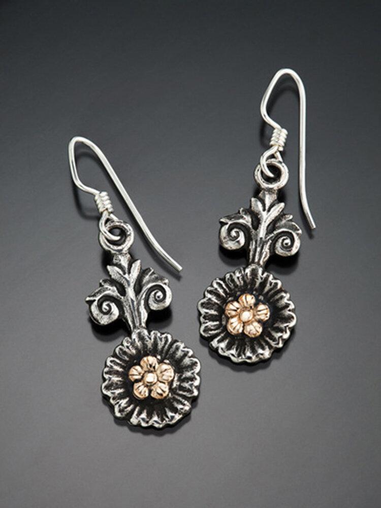 Vintage Two-Tone Sun Flower Women Pendant Earrings