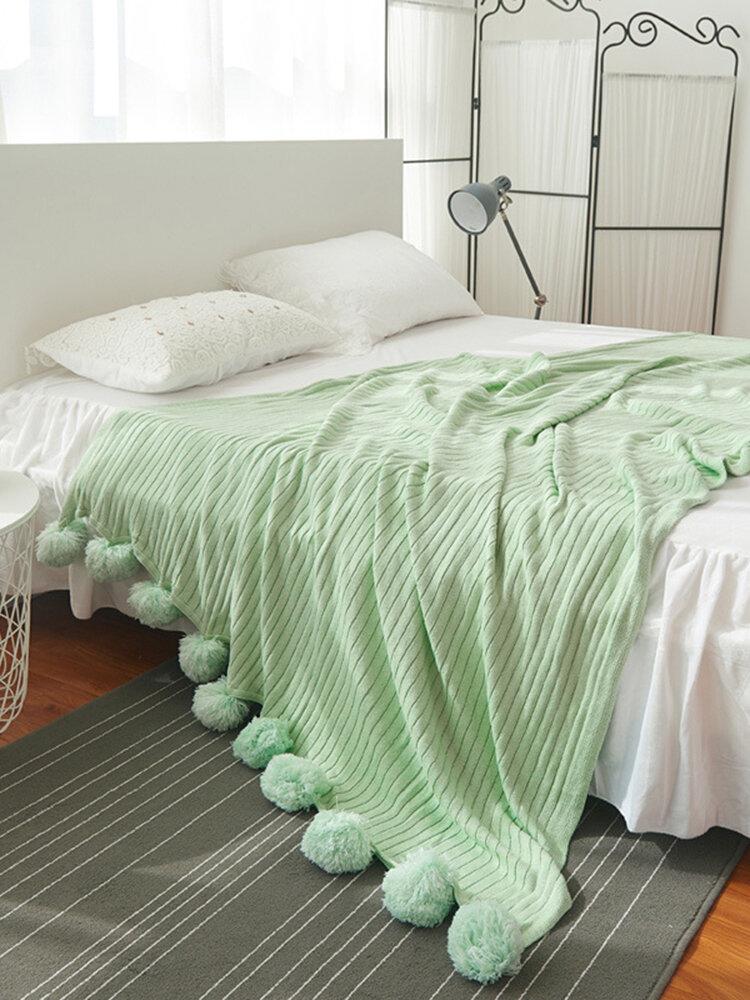 150x200cmソフトニットかぎ針編みスローブランケットロングパイルポンポンスーパーウォームベッドソファカバーの装飾