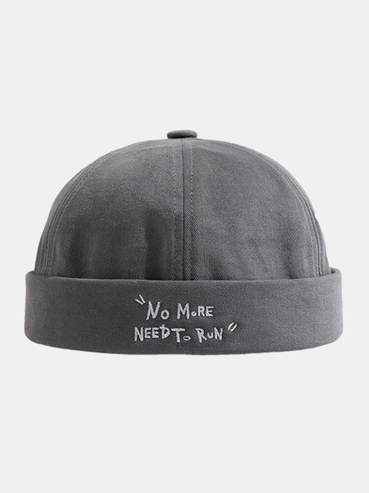 Unisex Cotton Dacron Solid Color Letter Pattern Embroidery Brimless Beanie Landlord Cap Skull Cap