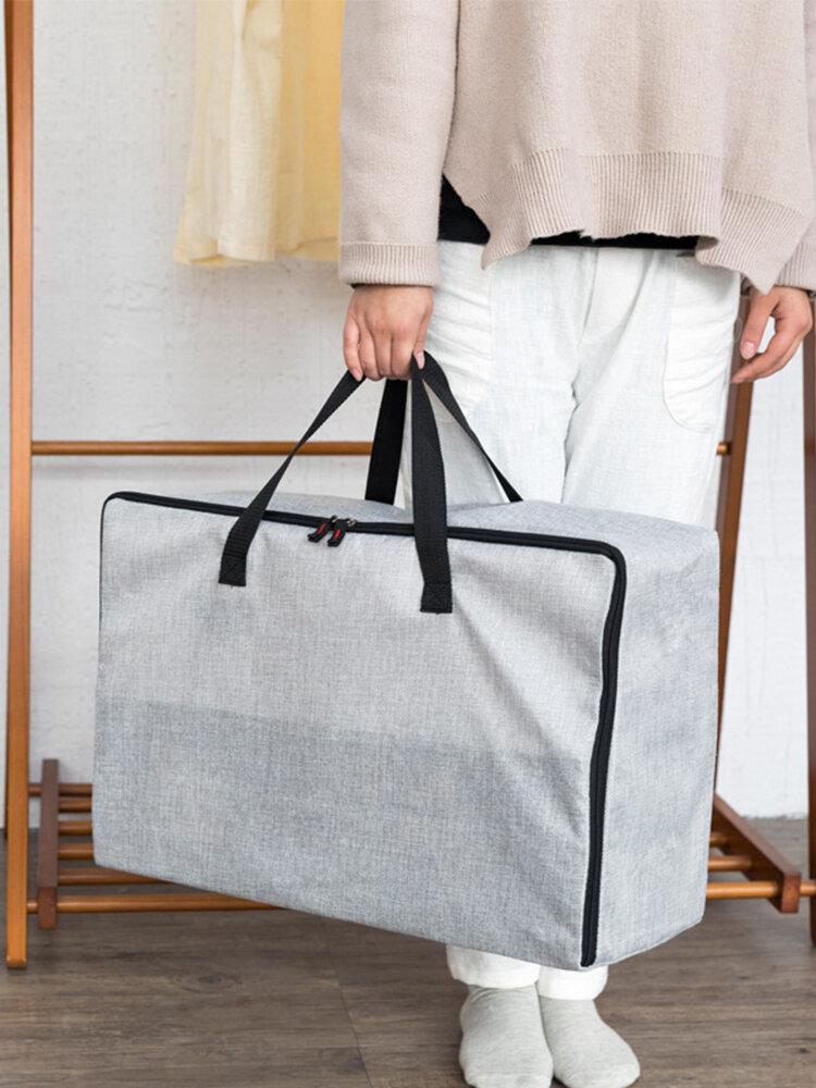 Leinen Baumwolle Reißverschluss Quilt Aufbewahrungstasche Verdickung Feuchtigkeitsbeständige solide Einkaufstasche